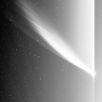 Image of Comet McNaught caught by one of the instruments on the STEREO spacecraft.