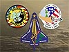 Graphic showing mission patches for Apollo 1, Challenger and Columbia