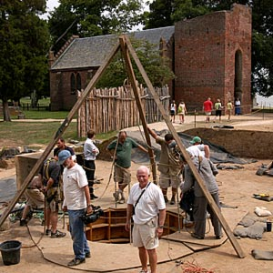 The James Fort site, including the well where the artifact was found, featuring William Kelso, leader of the Jamestown Rediscovery Project (center)