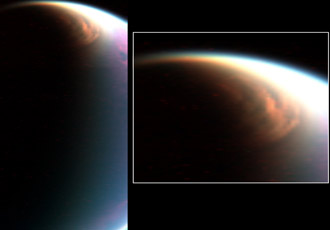 two views of Titan's giant north pole cloud