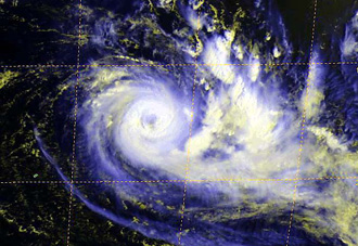 Satellite image of Tropical Cyclone Dora taken on February 2, 2007.