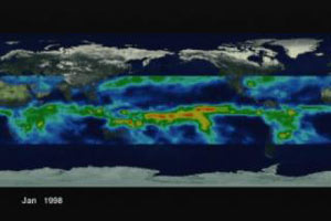 Still from animation showing observations of average rainfall from 1998 through 2000 from the Tropical Rainfall Measuring Mission satellite.