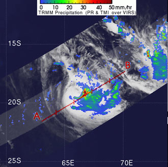 TRMM image of Tropical Cyclone Dora on Feb. 5, 2007.