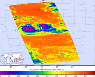 This infrared satellite image of Tropical Cyclone Dora, from the Atmospheric Infrared Sounder on NASA's Aqua satellite, taken Sat., Feb. 3, captures Dora near her peak intensity.