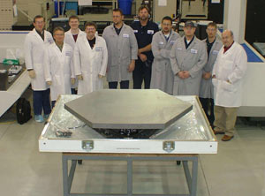 One of the 18 segments is shown ready to be shipped from Axsys Technologies which manufactured the mirror blanks.
