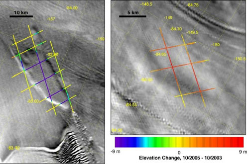 MODIS captured these two images showing a draw down of water in a subglacial lake and the rise of water in the same subglacial lake.