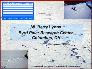 Teleconference slide for Dr. W. Berry Lyons