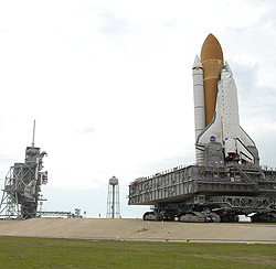 Space Shuttle Atlantis makes its trek to Pad 39A