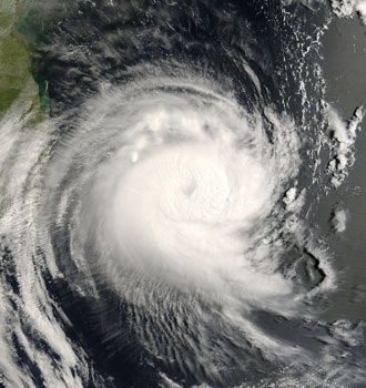 Satellite image of Tropical Cyclone Favio on Feb. 21, 2007