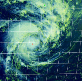 Satellite image of Tropical Cyclone Gamede on Feb. 21, 2007.
