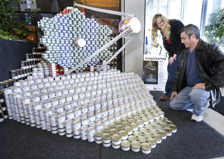Model of JWST satellite made up of cans.