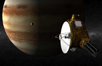 An artist's concept of the Jupiter flyby