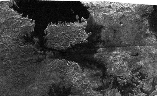 Radar image of Saturn's moon Titan