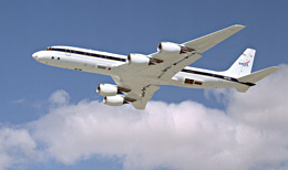 NASA's DC-8 Airborne Science research aircraft takes off.