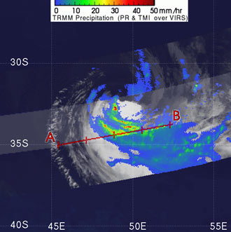 Satellite image of Tropical Cyclone Gamede