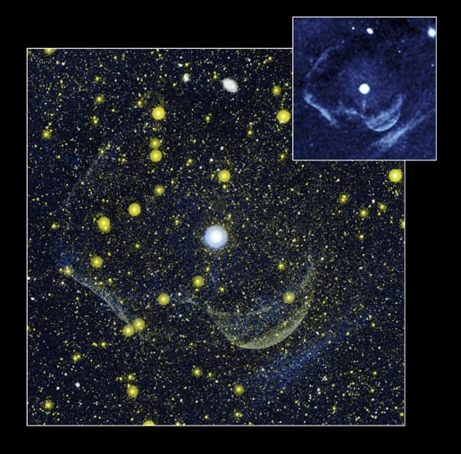 larger image shows the Z Camelopardalis stellar system and a massive shell around it,  inset image contains data from the observatory's far-ultraviolet detector