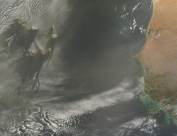 The skies over the Cape Verde Islands were filled with a brownish haze from dust blowing westward out of the African Sahara on June 3, 2002. This true-color image was captured by the Moderate Resolution Imaging Spectroradiometer on NASA's Terra spacecraft. The red dots appearing on the African landscape are wildfires.