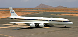 DC-8 parked on African coast