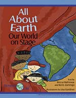 Front cover of the All About Earth storybook with five students pulling back a stage curtain to show the Earth