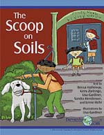 Front cover of The Scoop on Soil storybook showing three students and a dog on the steps in front of a school