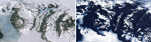 The images above shows a comparison of the same Antarctic scene from two different NASA remote sensors.