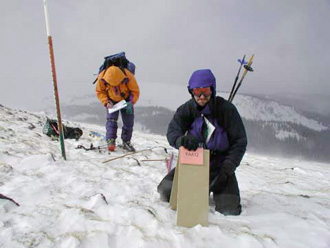 Scientists studying snow packs of the Colorado Rockies