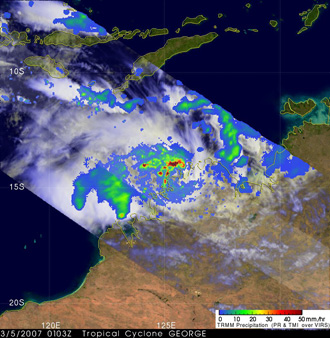 TRMM image of Tropical Cyclone George on March 5, 2007.