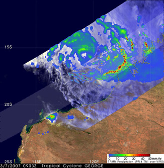 TRMM image of Tropical Cyclone George on March 7, 2007.