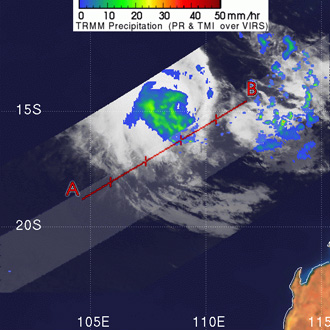 TRMM image of Tropical Cyclone Jacob on March 9, 2007.