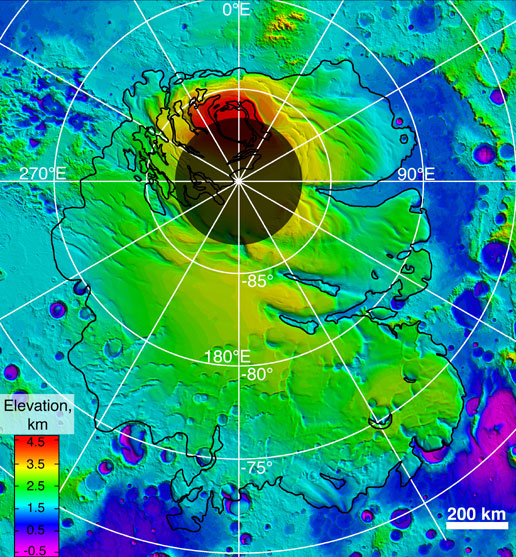 Multi-colored topographical map of the Martian region from the south pole to about 75 degrees south latitude indicates the contours of the surface, including the top surface of the polar layered deposits.