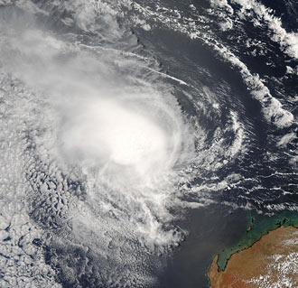 This photo like image of tropical cyclone Jacob was taken by the Moderate Resolution Imaging Spectroradiometer instrument on NASA's Aqua satellite on Sat., Mar. 10 at 1:10 a.m. EST