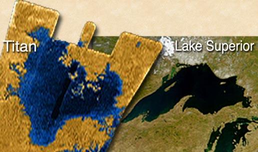 NASA/JPL/GSFC: Titan Sø sammenlignet med Lake Superior