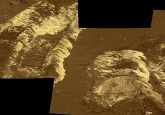 bright soil churned up by Spirit rover