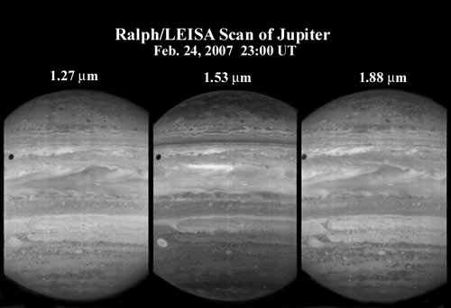 The LEISA infrared spectral imager in the New Horizons Ralph instrument observed giant Jupiter in 250 narrow spectral channels.