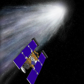 Artist's concept depicting Stardust encounter with comet Wild 2 in January 2004.