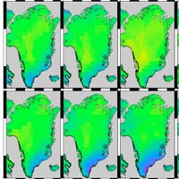 monthy changes in the mass of Greenland's ice sheet coverage
