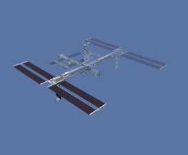 Illustration of the space station with the parts that are to be installed highlighted