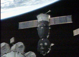 The Soyuz TMA-9 spacecraft undocks