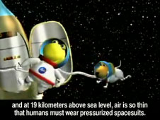 Cartoon character Norbert floats outside of a spacecraft with his dog
