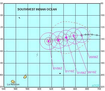This map shows the anticipated path and strength of tropical cyclone Jaya over the next 48 hours.