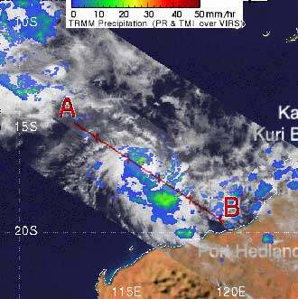 TRMM image of Tropical Cyclone Kara on March 25, 2007.