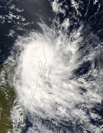 Photo of Tropical Cyclone Jaya taken by Aqua on April 3, 2007.