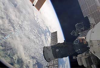 ISS014-E-18735 -- The Soyuz 13 (TMA-9) spacecraft is docked to the ISS