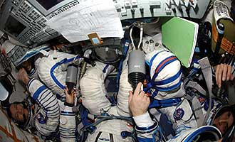 ISS014-E-18785 -- The Expedition 14 crew relocate the Soyuz 13 (TMA-9) spacecraft