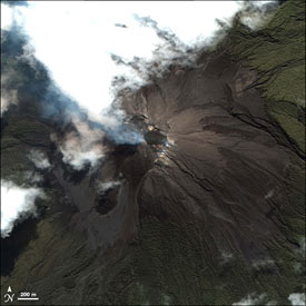 The Merapi volcano erupting on May 11, 2006, two weeks prior to the Java earthquake, as captured by Space Imaging's IKONOS satellite.