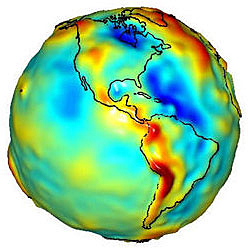 A spherical map of the Earth with different colors representing Earth's gravity field