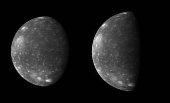 The New Horizons Long Range Reconnaissance Imager (LORRI) captured these two images of Jupiter's outermost large moon, Callisto, as the spacecraft flew past Jupiter in late February.