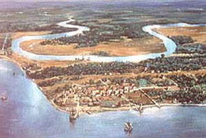 Artist's concept -- an aerial view of 17th century Jamestown