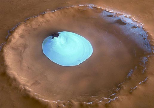 Residual water ice inside an impact crater on Vastitas Borealis, a broad plain that covers much of Mars' far northern latitudes.