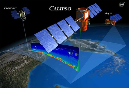 Artist's concept of NASA CALIPSO, CloudSat and Aqua satellites in orbit